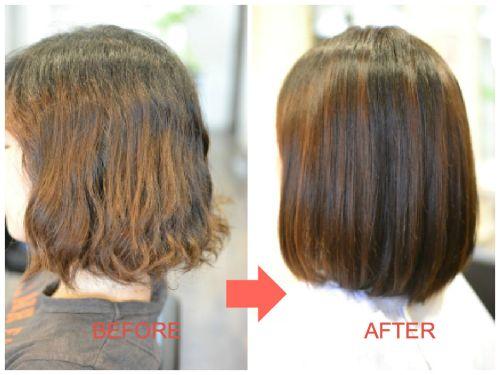 (R)縮毛矯正にパーマ失敗の修正 乾かすだけで自然な内巻きボブに