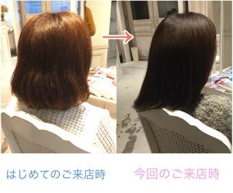 髪質改善2回目の感想「自分の髪の毛じゃないみたいで、ついつい何度も触ってしまってます」