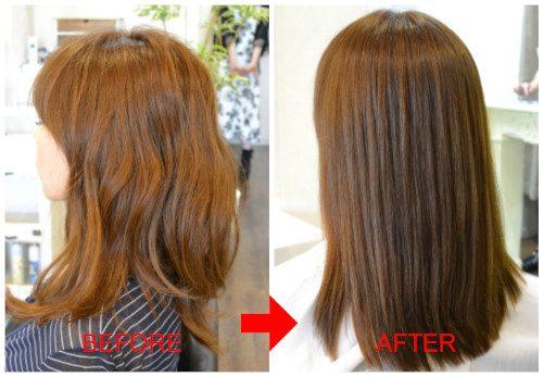(R)セルフカラー毛にGIOローション使って保湿縮毛矯正