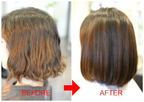 (R)縮毛矯正にパーマ失敗の修正 自然な内巻きボブに。