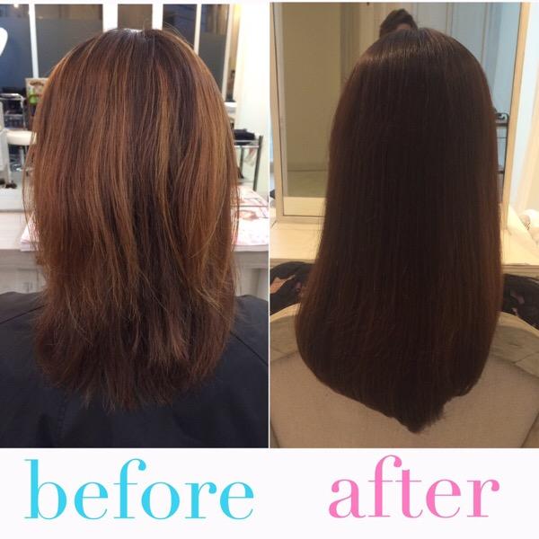 【髪質改善】縮毛矯正している髪にブリーチをしてしまいまとまらなくなってしまった髪を綺麗に