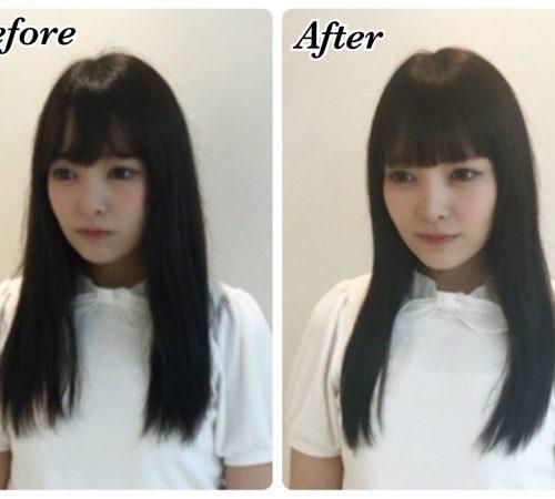 カラーの繰り替えしで傷んだ髪を綺麗な黒髪へ髪質改善