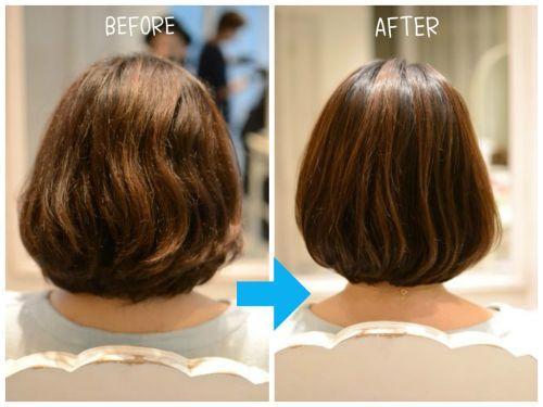 縮毛矯正らしくない 毛先が内側に入る自然で柔らかなストレートボブ
