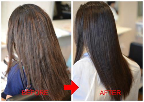 (R)スピエラGMT酸性矯正。毛先は1分還元ビビリ直し