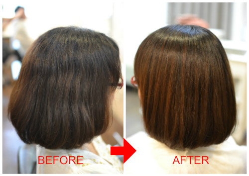 (R)脱・矯正ちょっと辛いので、SA&HAMASAKIでアルカリ縮毛矯正。