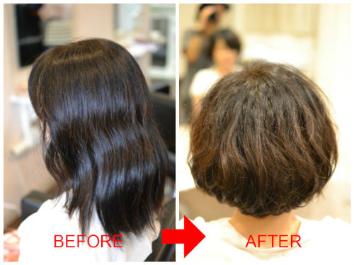 (R)膨らむ超多毛なくせ毛に ショートボブパーマ♪