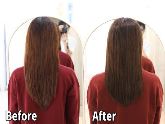 全体カラーの繰り返しで傷んだ髪に髪質改善で美髪に