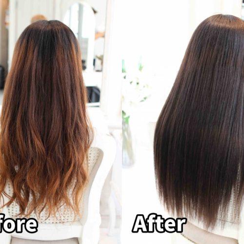 毛先がキンキンに明るく、乾燥でパサパサになってしまった髪の髪質改善