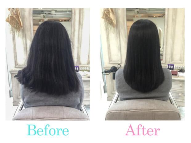 毛量が多く、パサパサ広がる白髪染めした髪を縮毛矯正でサラツヤ綺麗にできますか?