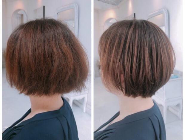 細いくせ毛で広がるから、いつも結んでしまう方を、内巻き縮毛矯正で人生初ショートに。